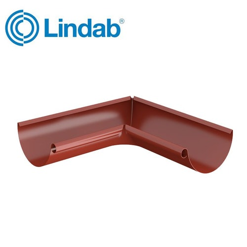 Lindab Half Round 90dg Inner Gutter Angle 125mm Painted Tile Red