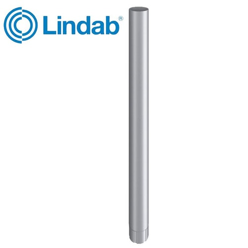 Lindab Guttering Round Downpipe 87mm x 3m Painted Silver Metallic