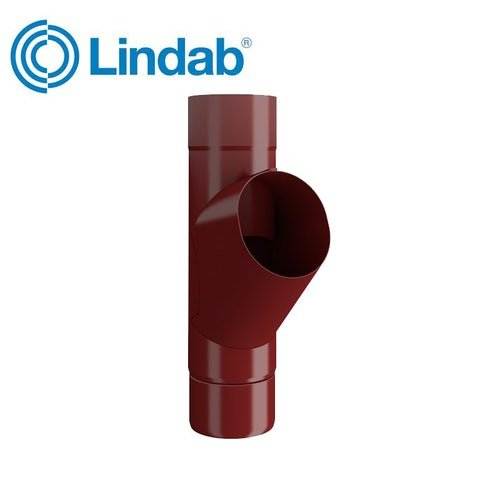 Lindab Guttering Round Adjustable Branch 100mm Painted Dark Red