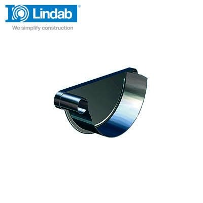 Video of Lindab Half Round Left Handed Stop End 190mm Painted Black