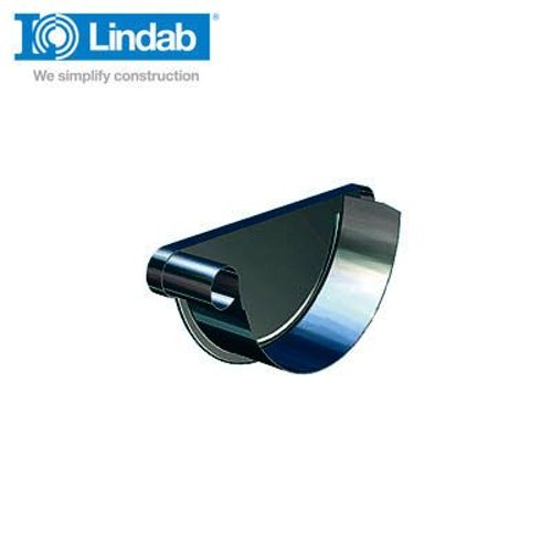 Lindab Half Round Left Handed Stop End 190mm Painted Black