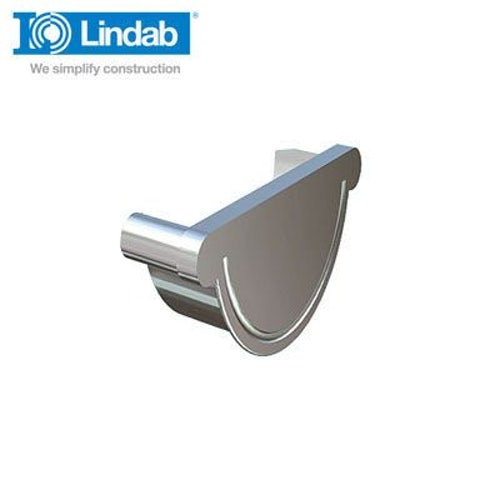 Lindab Half Round Right Handed Stop End 190mm Painted Silver Metallic