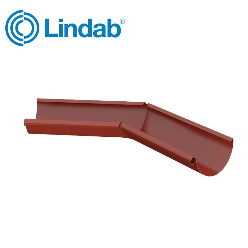 Video of Lindab Half Round 135dg Inner Gutter Angle 150mm Painted Tile Red
