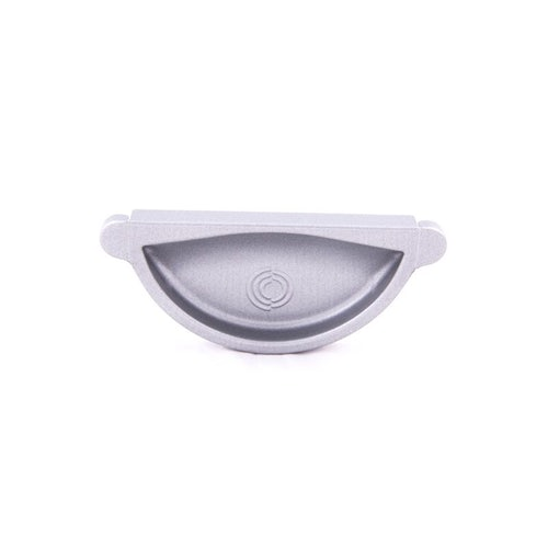Lindab Half Round Self Sealing Stop End 100mm Painted Silver Metallic