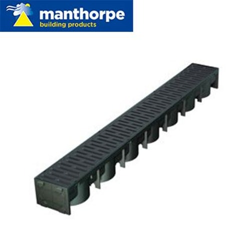 Manthorpe SmartDrain Drain Channel - Black - Pack of 48 x 1m Lengths