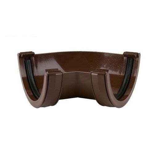 Plastic Guttering Half Round Style Fabricated Angle 112mm - Brown