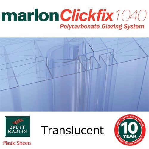 40mm Translucent Tenwall ClickFix Polycarbonate Sheet 2000mm x 500mm