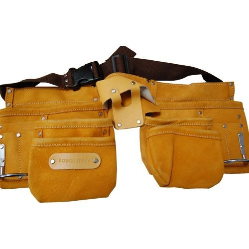 Large Leather Double Tool Pouch with Adjustable Belt and Fastener