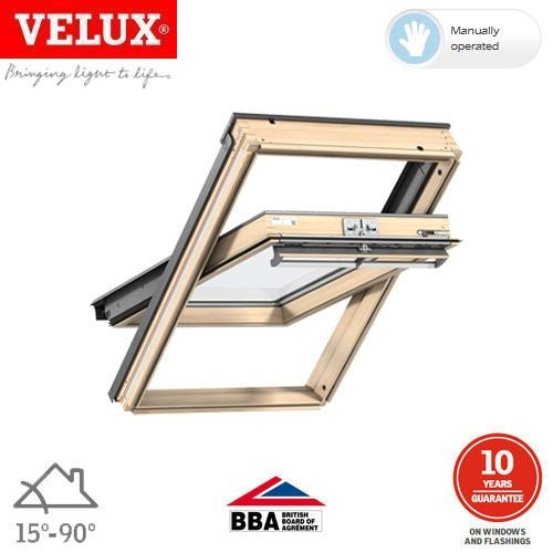 Video of VELUX GGL MK06 3070Q Pine Centre Pivot Window Enhanced - 78cm x 118cm