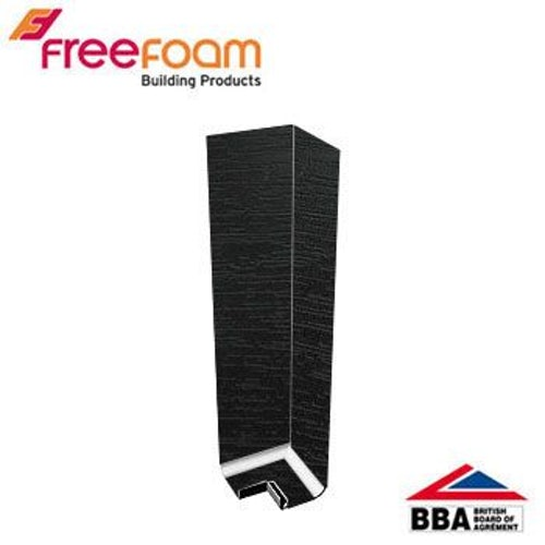 uPVC Fascia Board Corner (Square Edge) 300mm - Black Ash Woodgrain