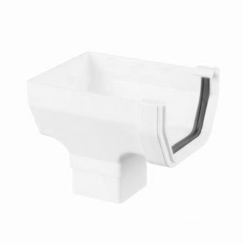Plastic Guttering Square Style Stopend Outlet 114mm - Arctic White