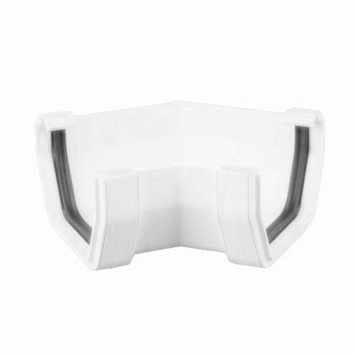 Plastic Guttering Square Style 135 Degree Angle 114mm - Arctic White