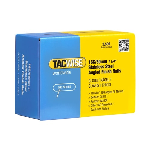 16G Stainless Steel Angled Nails 50mm by Tacwise - Box of 2500