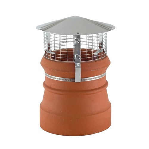 Birdguard Stainless Steel Chimney Cowl Round Strap for Solid Fuel - Natural