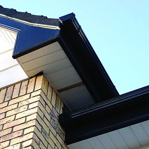 Freeflow Square Style Gutter External Stopend - Black