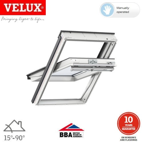 Video of VELUX GGL PK04 2070Q White Centre Pivot Window Security - 94cm x 98cm