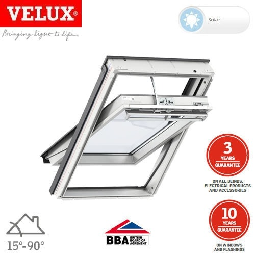 Video of VELUX GGL FK06 206030 White Centre Pivot Solar INTEGRA Window - 66cm x 118cm