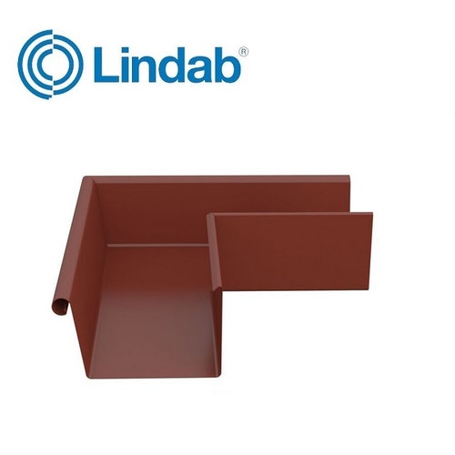 Lindab 90dg Rectangular External Gutter Angle 140mm Painted Tile Red
