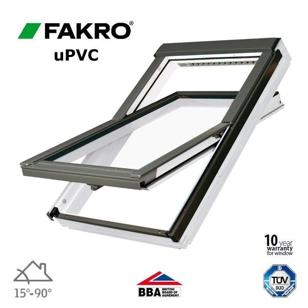Video of Fakro PTP-V O2/02 White uPVC Centre Pivot Obscure Window - 55cm x 98cm