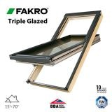 Fakro FTT U6/07 Triple Glazed Window Pine Centre Pivot - 78 x 140cm