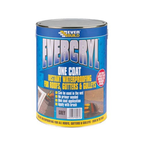 Everbuild Evercryl One Coat Acrylic Waterproof Coating - 5kg Grey
