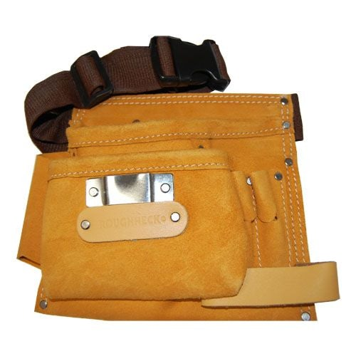 Leather Double Pocket Tool Pouch with Adjustable Belt and Fastener