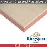 Kingspan Kooltherm K18 Insulated Plasterboard - 1.2m x 2.4m x 72.5mm