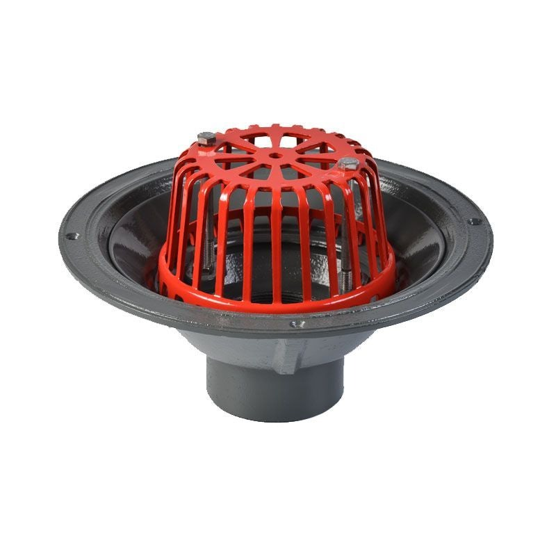 ACO Rainwater Roof Outlet Vertical Spigot with Dome Grate - 75mm