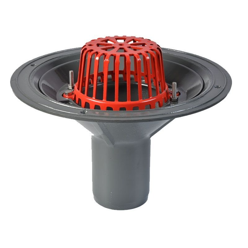 ACO Rainwater Roof Outlet Vertical Spigot with Dome Grate - 100mm