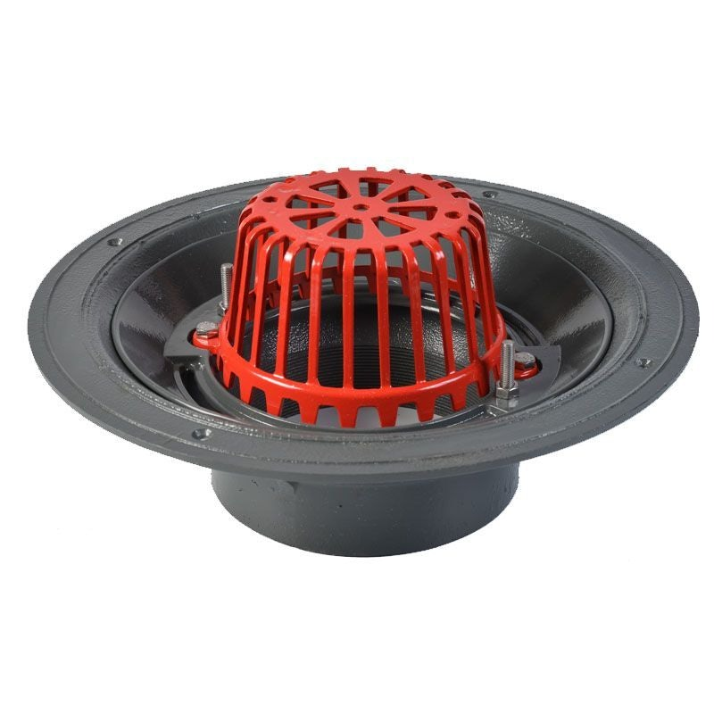 ACO Rainwater Roof Outlet Vertical Scew with Dome Grate - 150mm