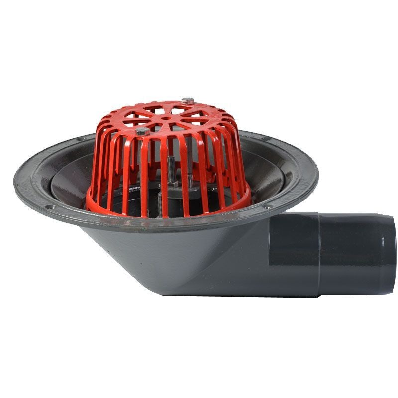 ACO Rainwater Roof Outlet 90dg Spigot with Dome Grate - 75mm