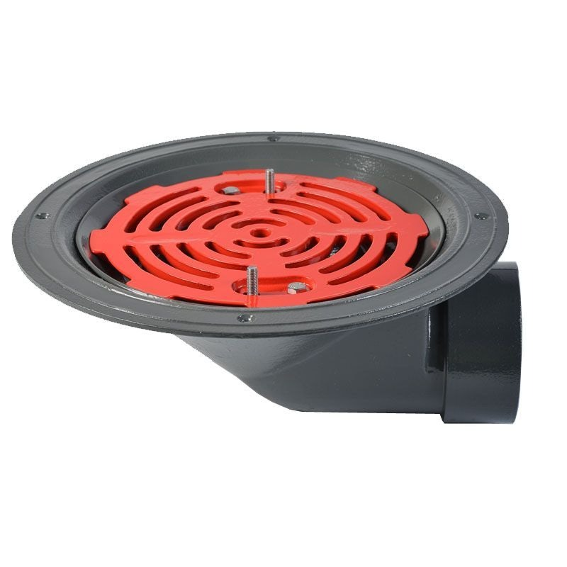 ACO Rainwater Roof Outlet 90dg Screw with Flat Grate - 100mm