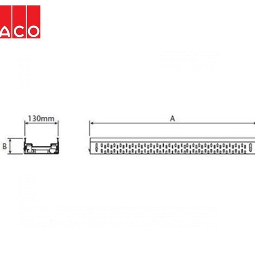 ACO Freedeck Fixed Height Shallow Channel 500mm - Galvanised Steel