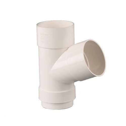 Plastic Guttering Round Style Downpipe 112.5 Degree Branch 68mm White
