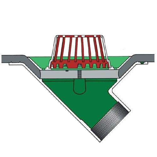 Aluminium Roof Rainwater Outlet 45 Vertical Threaded 75mm - Dome Grate