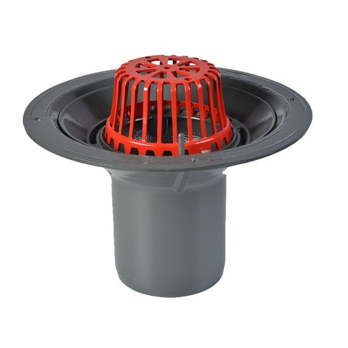 ACO Rainwater Roof Outlet Vertical Spigot with Dome Grate - 150mm