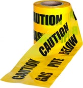 Underground Caution Warning Tape Yellow Gas Mains - 150mm x 365m