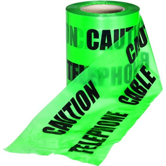 Underground Caution Warning Tape Green Fibre Optic Cable 150mm x 365m