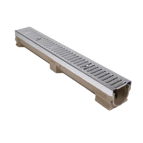 Sloped Channel Drain 118/124mm Galvanised Grate - 1m