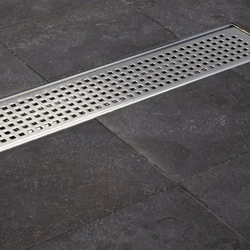 Shower Wet Room Channel Drain 1085mm Quadrato Grating ACO C-Line