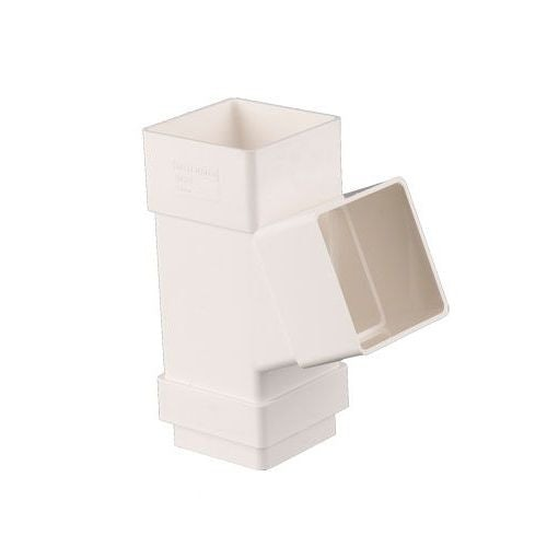 Plastic Guttering Square Downpipe 112.5 Degree Branch 65mm - White