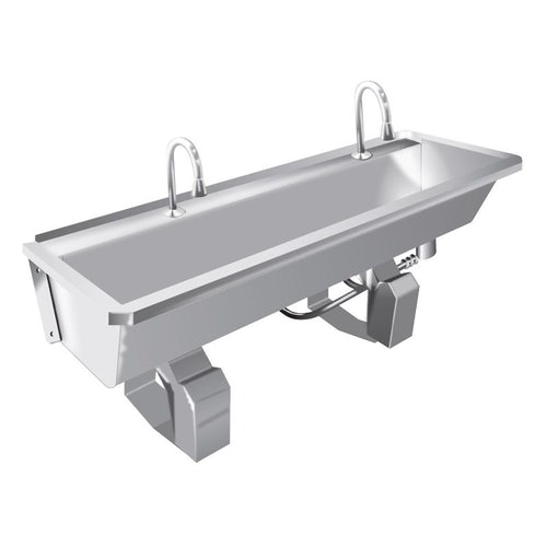 Stainless Steel Commercial Twin Sink Knee Operated