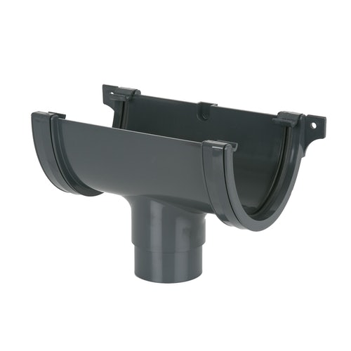 Plastic Guttering Deepstyle Running Outlet 115mm - Anthracite Grey