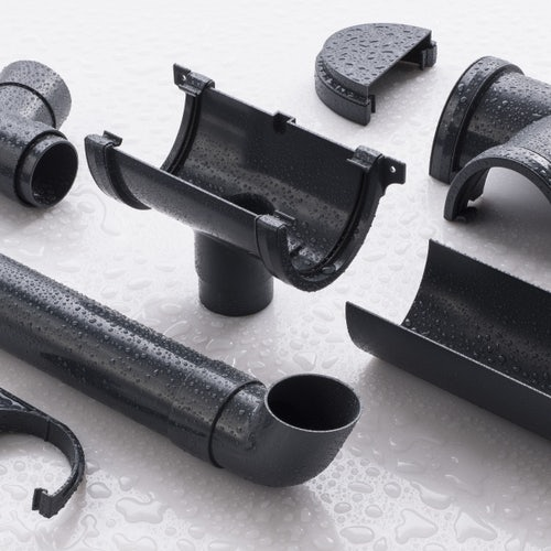 Plastic Guttering Round Downpipe 2.5m Length 68mm - Anthracite Grey