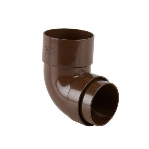Plastic Guttering Round Style Downpipe 92.5 Degree Bend 68mm - Brown