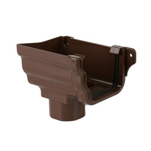 Plastic Guttering Ogee Prostyle Stop End Outlet LH 106mm - Brown