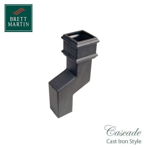 Cascade Cast Iron Style 75mm Square Downpipe Offset Bend - Black