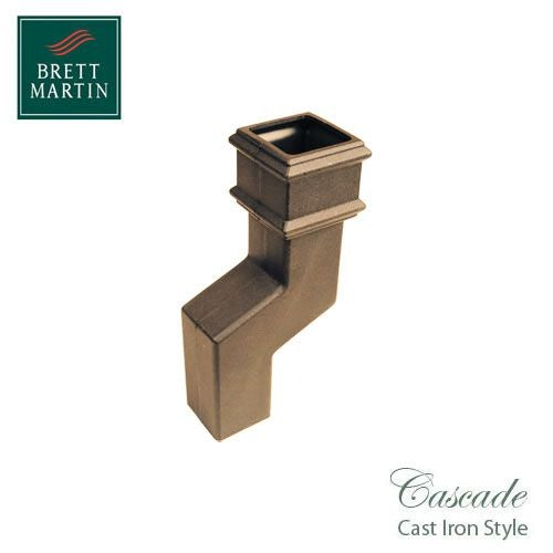 Cascade Cast Iron Style Square Downpipe 115mm Offset Bend - Sand