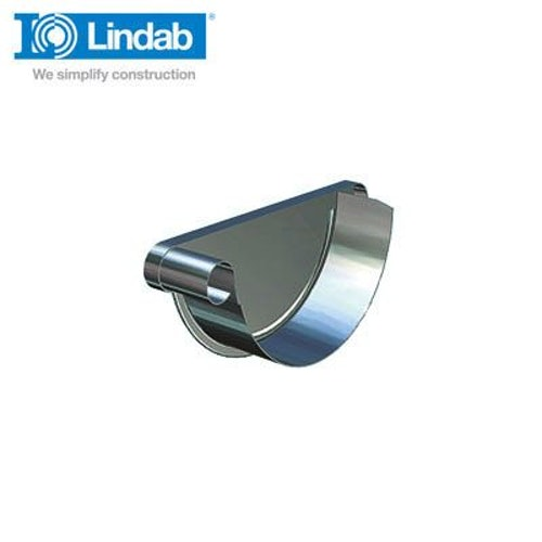 Lindab Half Round Left Handed Stop End 190mm Painted Dark Grey