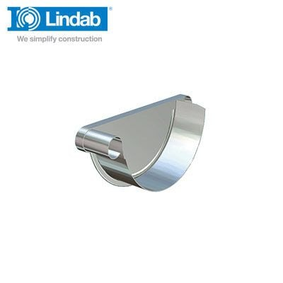 Video of Lindab Half Round Left Handed Stop End 190mm Painted Anthracite